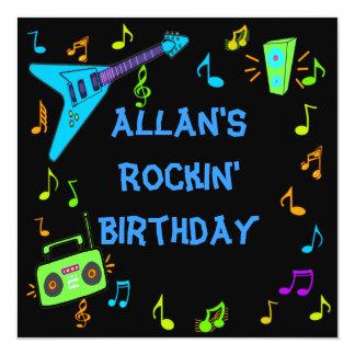 El cumpleaños de Rockin invita Invitación 13,3 Cm X 13,3cm