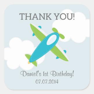 El cumpleaños del aeroplano le agradece los pegatina cuadrada