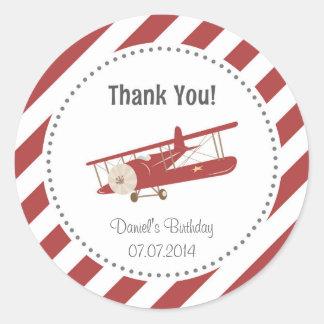 El cumpleaños del aeroplano le agradece pegatina