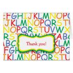 El cumpleaños del alfabeto agradece le para tarjeton