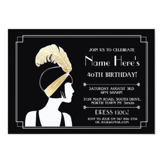"""el cumpleaños del art déco de los años 20 invita invitación 5"""" x 7"""""""