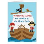 El cumpleaños del barco pirata le agradece cardar tarjetas