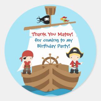 El cumpleaños del barco pirata le agradece pegatinas redondas