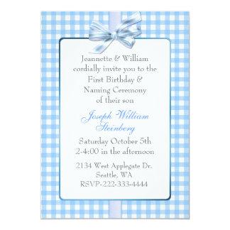 """El cumpleaños del bebé azul de la guinga y invitación 5"""" x 7"""""""