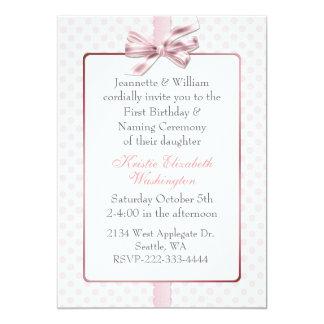 El cumpleaños del bebé rosado del lunar y invitación 12,7 x 17,8 cm