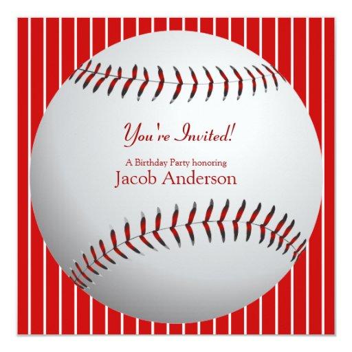 El cumpleaños del béisbol invita (las rayas rojas) invitación 13,3 cm x 13,3cm