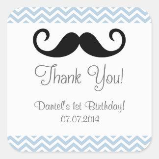 El cumpleaños del bigote le agradece los pegatinas pegatina cuadrada