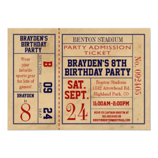 El cumpleaños del boleto de los deportes del invitación 12,7 x 17,8 cm