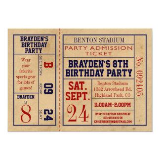 """El cumpleaños del boleto de los deportes del invitación 5"""" x 7"""""""