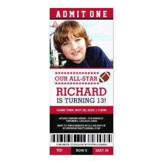 """El cumpleaños del boleto del fútbol invita invitación 4"""" x 9.25"""""""