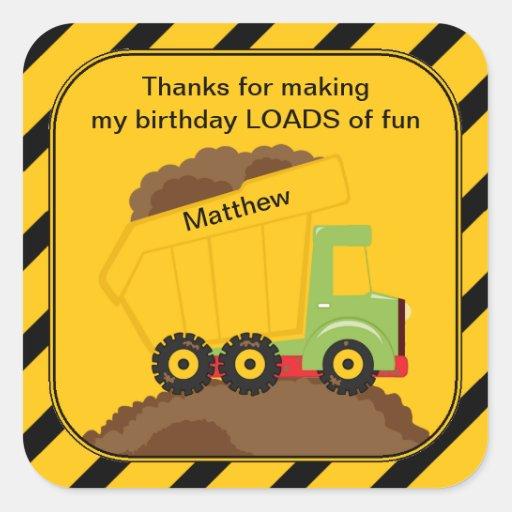El cumpleaños del camión volquete le agradece calcomanías cuadradass personalizadas