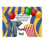El cumpleaños del carnaval del circo/le agradece postal