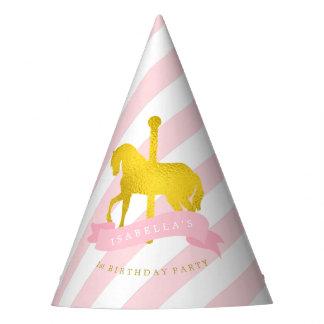 El cumpleaños del carrusel del chica rosado del gorro de fiesta