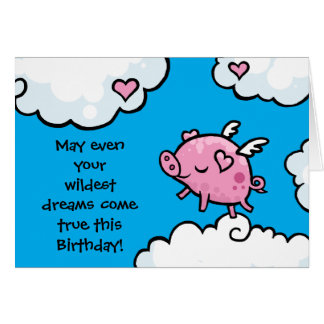 El cumpleaños del cerdo del vuelo soña la tarjeta de felicitación
