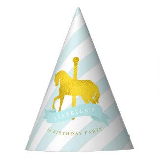 El cumpleaños del chica del caballo del carrusel gorro de fiesta