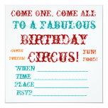 El cumpleaños del circo del vintage invita anuncio personalizado