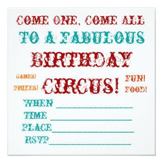 """El cumpleaños del circo del vintage invita invitación 5.25"""" x 5.25"""""""