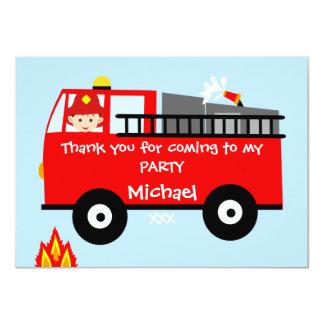 """El cumpleaños del coche de bomberos de los niños invitación 4.5"""" x 6.25"""""""