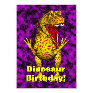 """El cumpleaños del dinosaurio invita invitación 5"""" x 7"""""""
