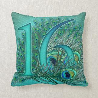 el cumpleaños del dulce 16 adornó número de la eda almohadas