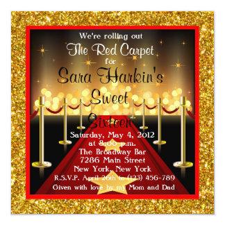 El cumpleaños del dulce 16 de Hollywood de la Invitación 13,3 Cm X 13,3cm