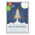 """El cumpleaños del espacio de la nave de Rocket Invitación 5"""" X 7"""""""