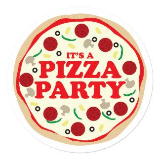 """El cumpleaños del fiesta de la pizza invita invitación 5.25"""" x 5.25"""""""