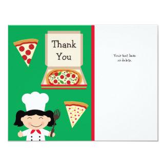 """El cumpleaños del fiesta de la pizza le agradece invitación 4.25"""" x 5.5"""""""