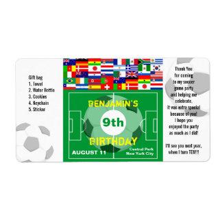 El cumpleaños del fútbol le agradece etiqueta del  etiquetas de envío