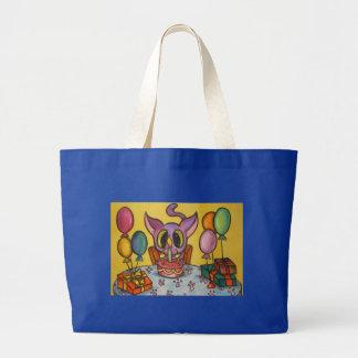 El cumpleaños del gatito bolsa tela grande