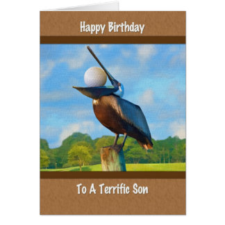 El cumpleaños del hijo, pelícano con la tarjeta de