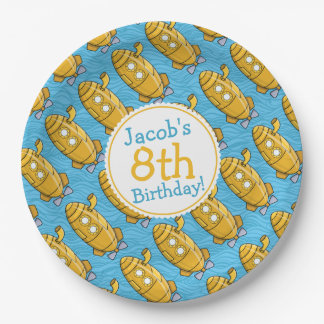 El cumpleaños del muchacho submarino amarillo plato de papel de 9 pulgadas
