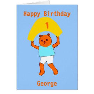 El cumpleaños del peluche añade nombre de la edad felicitacion