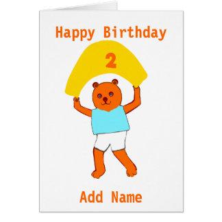 El cumpleaños del peluche añade nombre de la edad tarjetón