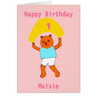 El cumpleaños del peluche añade nombre de la edad felicitación