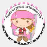El cumpleaños del pirata del chica le agradece pegatinas redondas