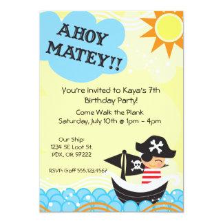 El cumpleaños del pirata invita comunicado personalizado