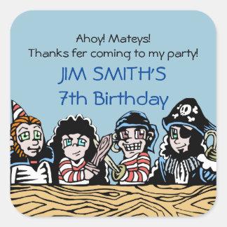 El cumpleaños del pirata le agradece favor de pegatina cuadradas personalizadas