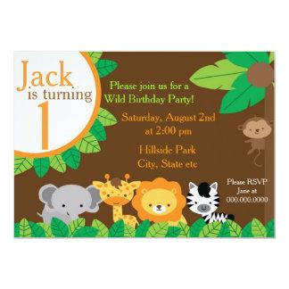 """El cumpleaños del safari invita invitación 5"""" x 7"""""""