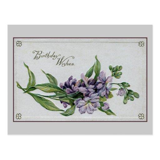 El cumpleaños del vintage desea las flores de la postales