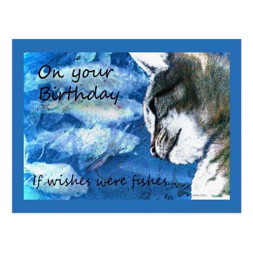 El cumpleaños desea el gato y pescados postales