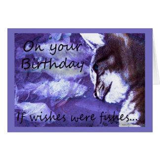 El cumpleaños desea el gato y pescados tarjeta pequeña