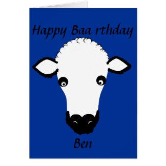 El cumpleaños divertido de las ovejas, baa rthday, tarjeta de felicitación