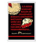 El cumpleaños divertido del día del pi, ase una pa tarjetón