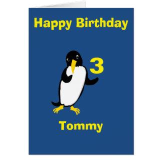 El cumpleaños divertido del pingüino, añade el tarjeta