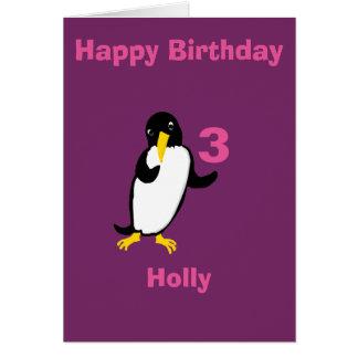 El cumpleaños divertido del pingüino, añade el tarjetón