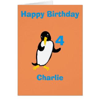 El cumpleaños divertido del pingüino, añade el felicitaciones