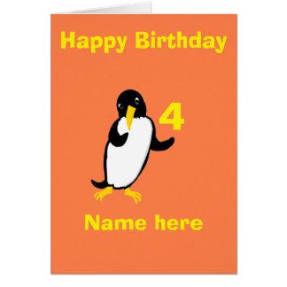 El cumpleaños divertido del pingüino, añade el tarjetas