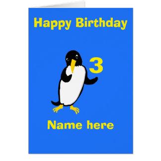 El cumpleaños divertido del pingüino, añade el felicitacion