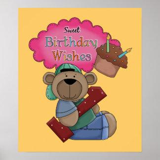 El cumpleaños dulce desea cumpleaños de 1 año posters